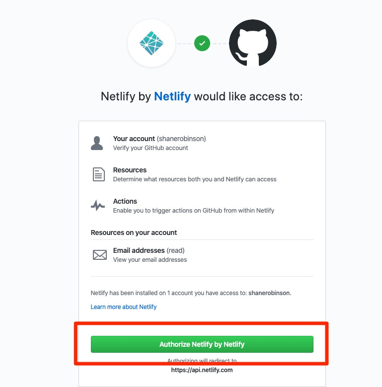 Authorize Netlify to access your Github account